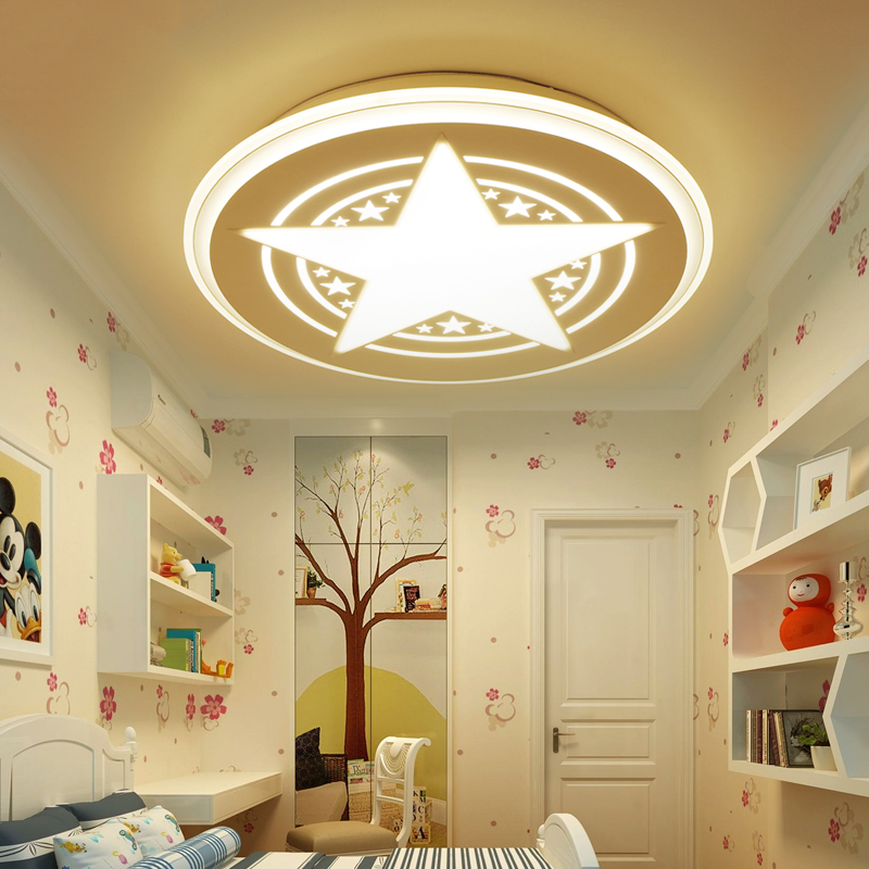 Modern Kids Room LED Ceiling Lights Acrylic Shade Dimming ceiling lamp AC110V/220V Star Round Surface Mounted Lamparas de techo noosion modern led ceiling lamp for bedroom room black and white color with crystal plafon techo iluminacion lustre de plafond