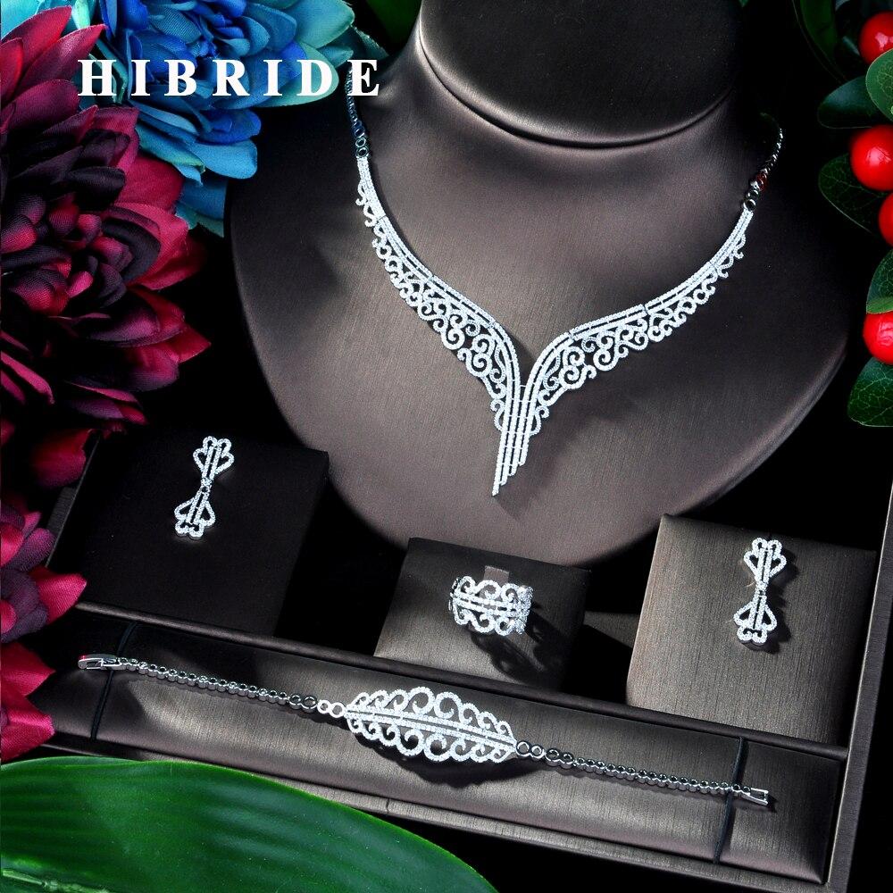 HIBRIDE Super Luxury Leaf Leaves Full Micro Cubic Zirconia Women Wedding Dress Choker Necklace Earring Jewelry