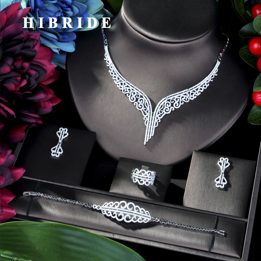 HIBRIDE Super Luxury Leaf Leaves Full Micro Cubic Zirconia Women Wedding Dress Choker Necklace Earring Jewelry Sets 2019 N-39HIBRIDE Super Luxury Leaf Leaves Full Micro Cubic Zirconia Women Wedding Dress Choker Necklace Earring Jewelry Sets 2019 N-39
