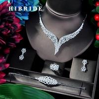 HIBRIDE Super Luxury Leaf Leaves Full Micro Cubic Zirconia Women Wedding Dress Choker Necklace Earring Jewelry Sets 2019 N 39