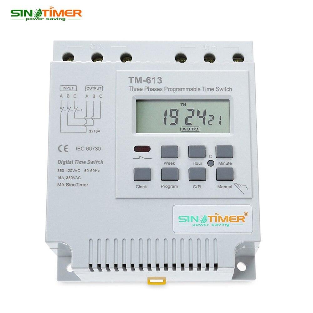 שלושה שלבים לתכנות sinotimer ac 380 v lcd דיגיטלי תכליתי מכשיר בקרת החשמל טיימר החלף זמן ממסר מתח גבוה