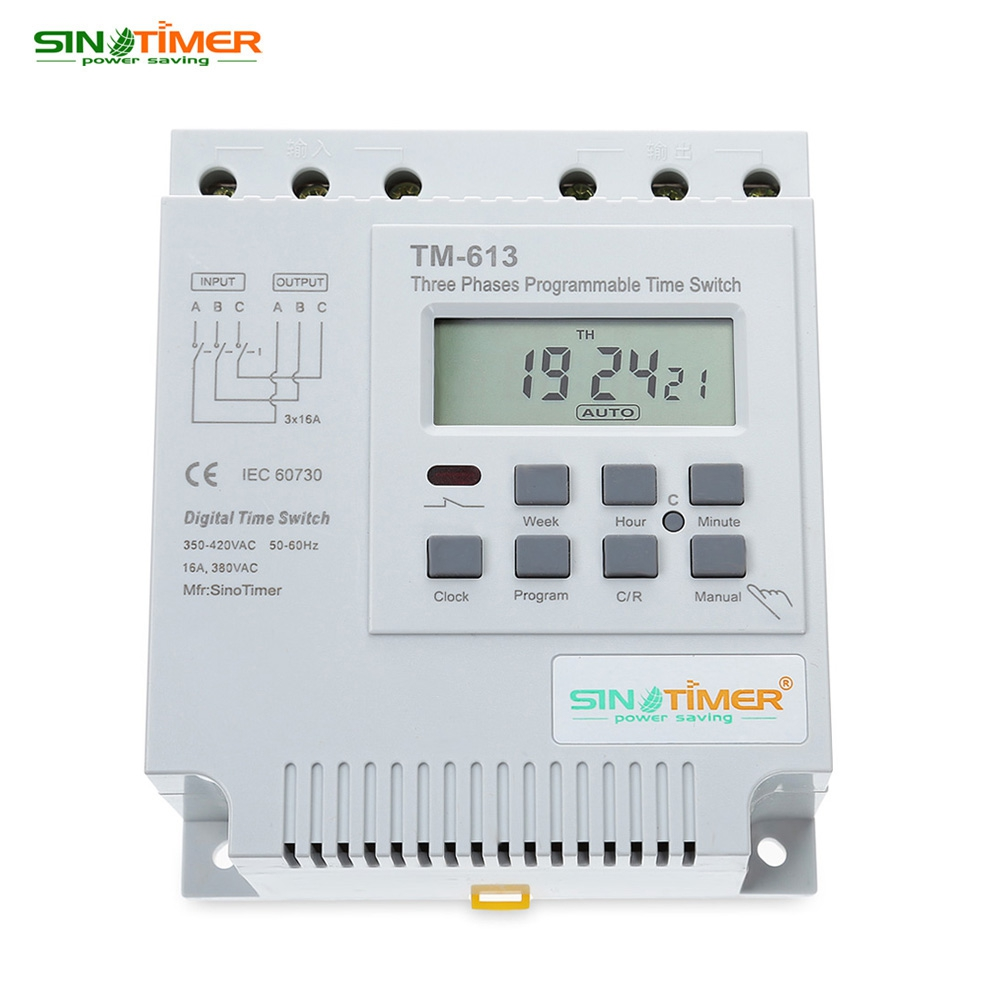 SINOTIMER AC 380V LCD Digital Multipurpose Three Phases Programmable Control Power Timer Switch High Power Time Relay Instrument ac 380v 99 second 99s digital timer programmable time delay relay 13 pins js11s
