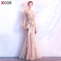 Romantic Mermaid Long Evening Dresses 2018 V Neck Gold Sequined Women Formal Prom Evening Gowns