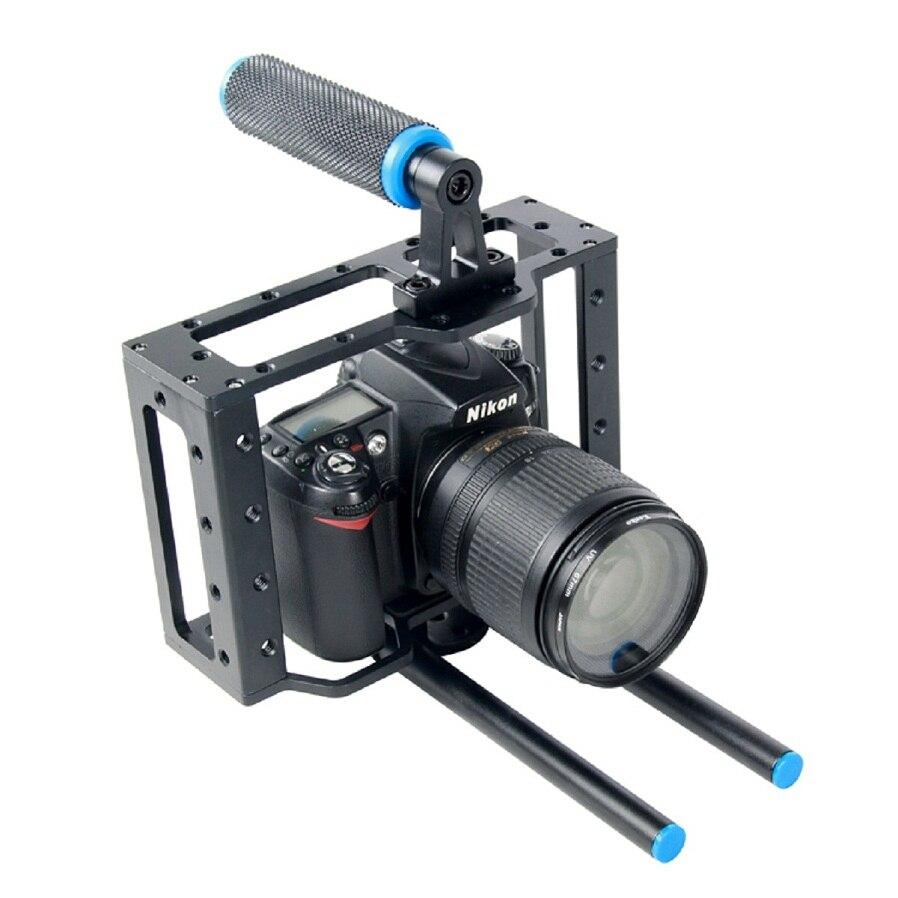DSLR Rig Vidéo Caméra Cage Rail 15mm Système de Tige de renfort de Poignée Supérieure Pour Canon 5D Mark II III 6D 7D 60D 70D 5DII 5DIII Caméra