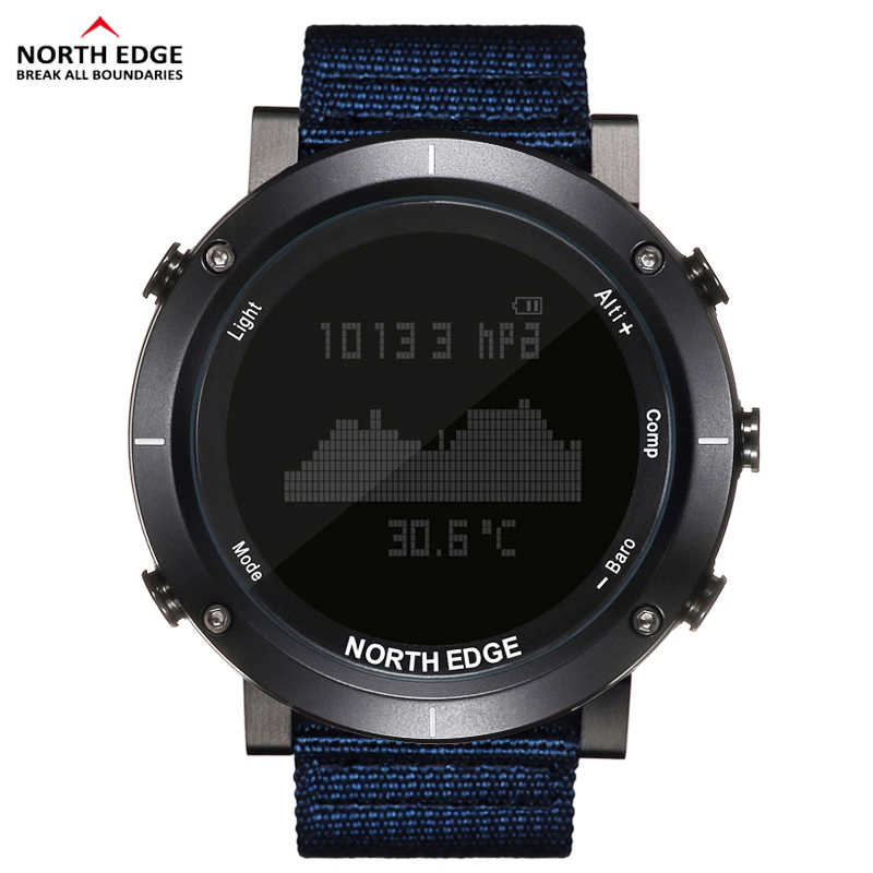 NORTH EDGE Men Sports Watches Compass Altimeter Thermometer Barometer Heart Rate Pedometer Digital Running Hiking Climbing Watch