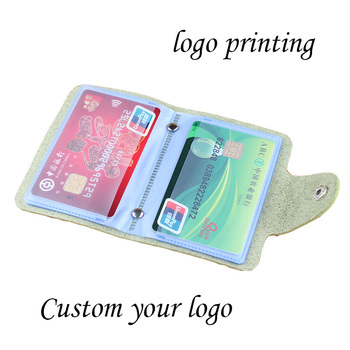 Quality ID Credit Card Protector Storage bag Leather Wallet Card Holder Visiting Cards Case Package Printing gift Custom logo image