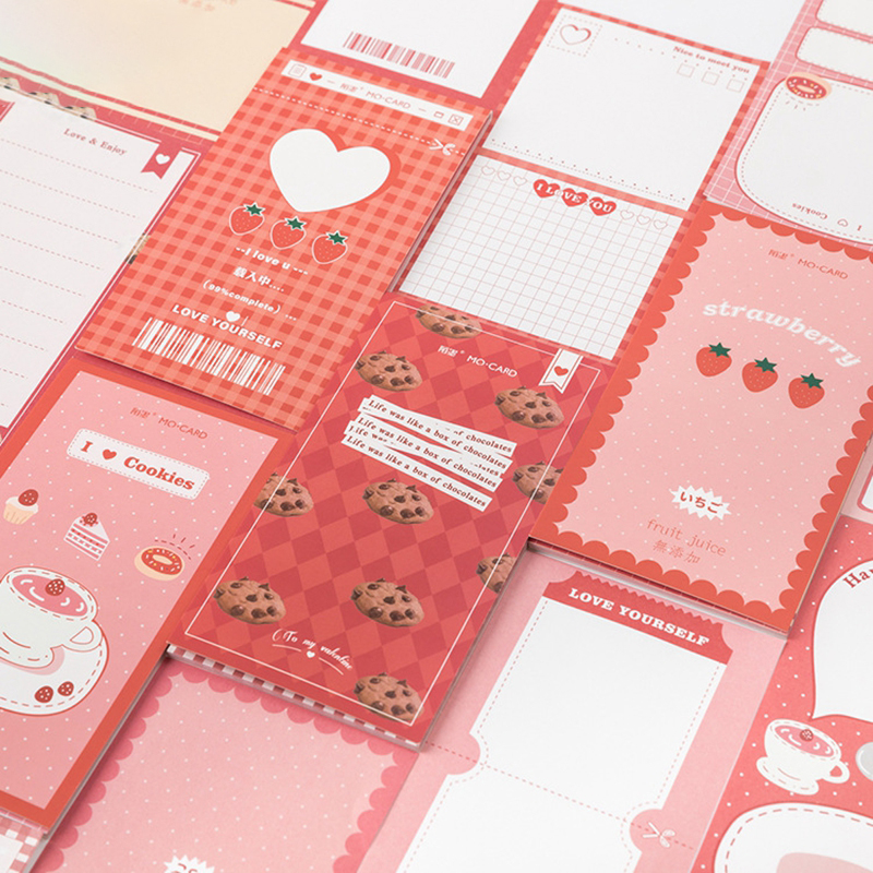 Kawaii Strawberry Series Memo Pad  Girl Diary DIY Portable Notepad Planner Sticky Notes Cute Stationery School Office Supply(China)