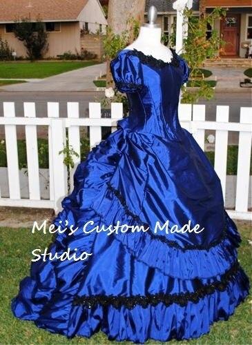Blue Gothic Victorian Gown Wedding&Bridal Dress/Event Dress