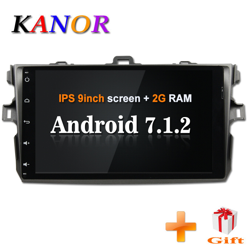 KANOR Android 7.1 Quad Core 2G 2din Car Radio for Toyota Corolla 2006 2007 2008 2009 2010 2011 2012 car stereo radio gps satnavi цена