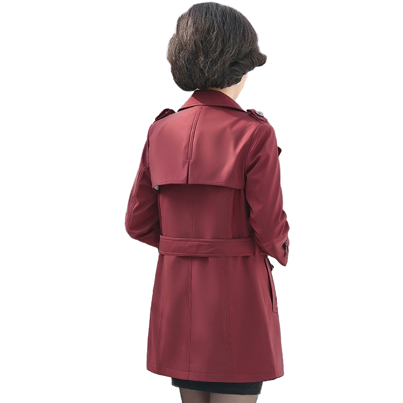 High quality Short   Trench   Coat Women 2019 Fashion Spring Autumn Windbreaker Coats Middle aged Female Casual Tops Plus size 2675