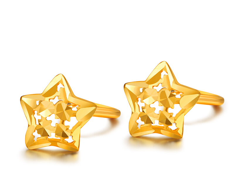 все цены на Pure Solid 24k Yellow Gold Earrings Women Lucky Bling Star Stud Earrings онлайн