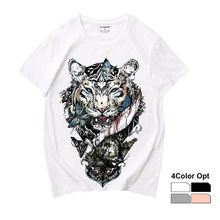 Men Women Unisex Adult Loose Short Sleeve T Shirt Hip Hop Tee Rock Top Skate Board Summer Casual Cotton Clothing Blood Tiger