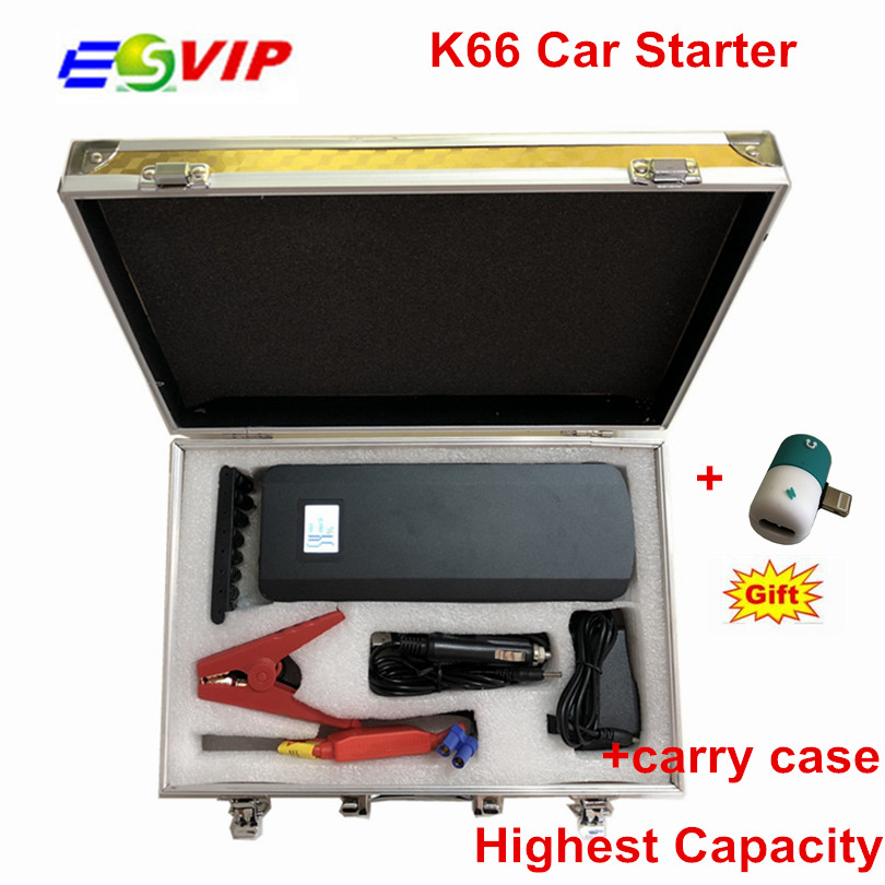 2018 Newest K66 Black Car battery car jump starter 12V emergency power bank jump starter 21000mah Emergency Kit with Carry Case emergency 12v car lithium battery jump starter with anti over charge clamps dual usb output