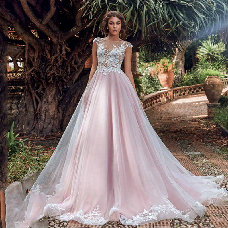 LORIE Pink Princess Wedding Dress A Line  Bridal Gowns  Appliqued Lace Boho Illusion Backless Wedding Gown  Floor Length