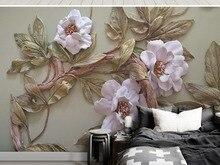 Custom 8d & 5d  & 3d Mural wallpaper Emboss Flower Trees