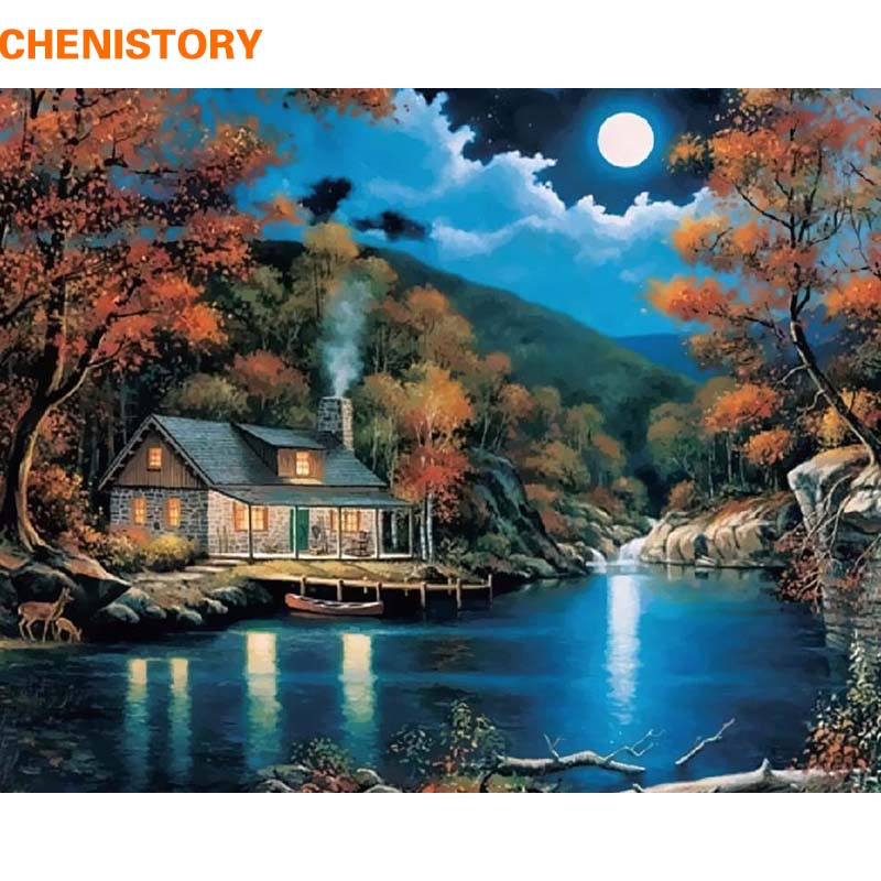 CHENISTORY Landscape Diy Painting By Numbers Wall Art Picture Acrylic Paint On Canvas Handpainted For Living Room Artwork 40x50