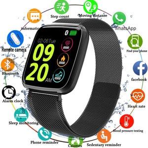 Image 1 - 2019 スマート腕時計メンズ防水血圧ビッグタッチスクリーンスマートウォッチ女性心拍数スポーツフィットネストラッカー腕時計ウェアラブル