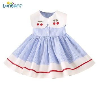 1e045d1be LONSANT Vestido De niña sin mangas una línea De ropa De bebé Niñas Ropa De Verano  Vestido Infantil De Infantis Vestidos De Verano De N30