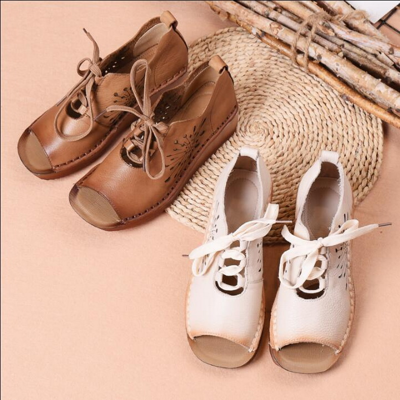 2019 summer new Genuine Leather Gladiator Sandals retro handmade Lace Up Flat Heels Sandals Ladies Casual flat Shoes - 2