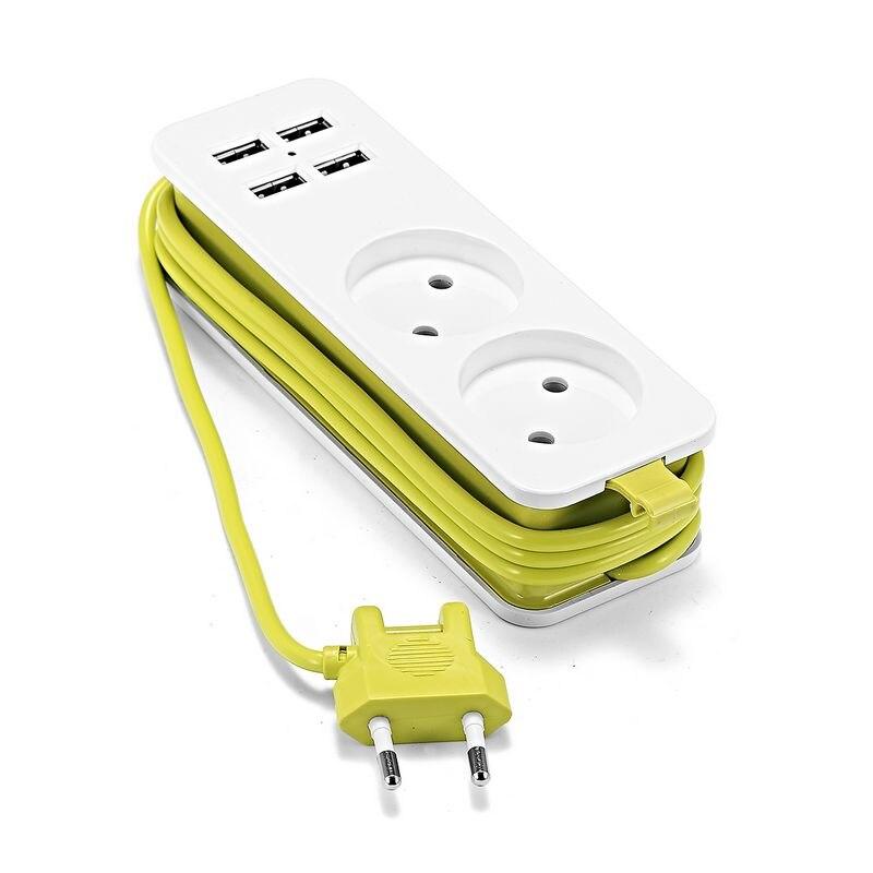 EU Plug USB Socket Power Strip Electric Socket Surge Protector Extension Sockets USB Smart Mobile Phone Wall Charger Desktop Hub