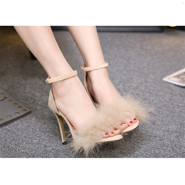 5ca24d7f320 Women s Nude Fur Sandals Heels Sandalias Fashion Summer Shoes Thin Heels  Pumps Mujer Sandalias Chaussure Femme Mujer Verano