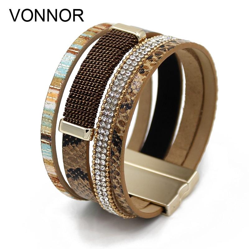 VONNOR Jewelry Women Bracelets Multi-layer Leather Rhineston