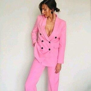 Image 2 - 2019 Yeni Bahar BF tarzı Kruvaze Düğme Kadınlar Pembe Blazer Yüksek Bel Küçük Düz Pantolon Uzun Kollu Takım Elbise 2 Adet seti