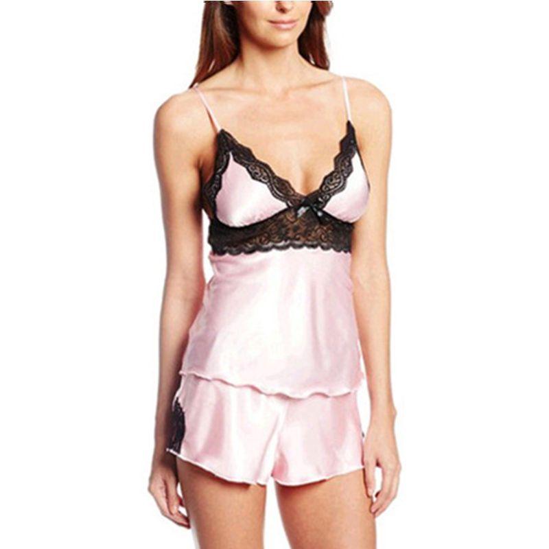 Summer Women's   Pajamas     Set   Sexy V Neck Spaghetti Strap Top Female Lingerie