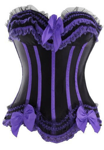 Free Shipping Clearance  Black and Purple lace up boned corset busiter underwear costume S-6XL instyles