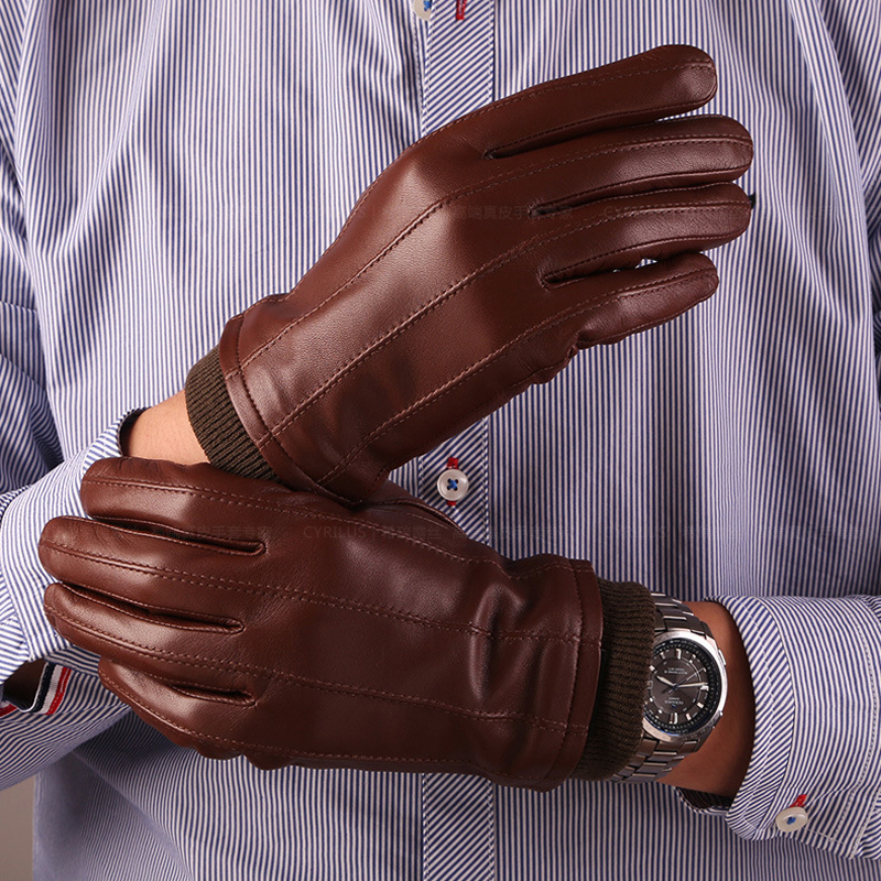 Fashion Mens Leather Gloves Real Sheepskin Men Genuine Leather Wrist Solid Autumn Warm Mittens Male Driving Gloves Free Shipping