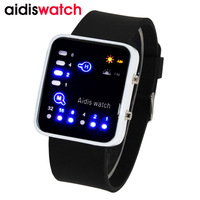 Mens Watch LED Watch Silicone Binary Electronic Children Student Waterproof Jelly Table Men Boy Women Gift