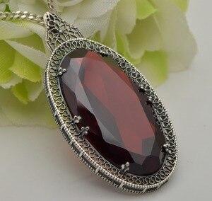 Image 4 - Серебряный кулон Szjinao для женщин, красный гранат, свадебный подарок для гостей, Настоящее серебро 925 пробы, Овальный драгоценный камень, Роскошные ювелирные украшения
