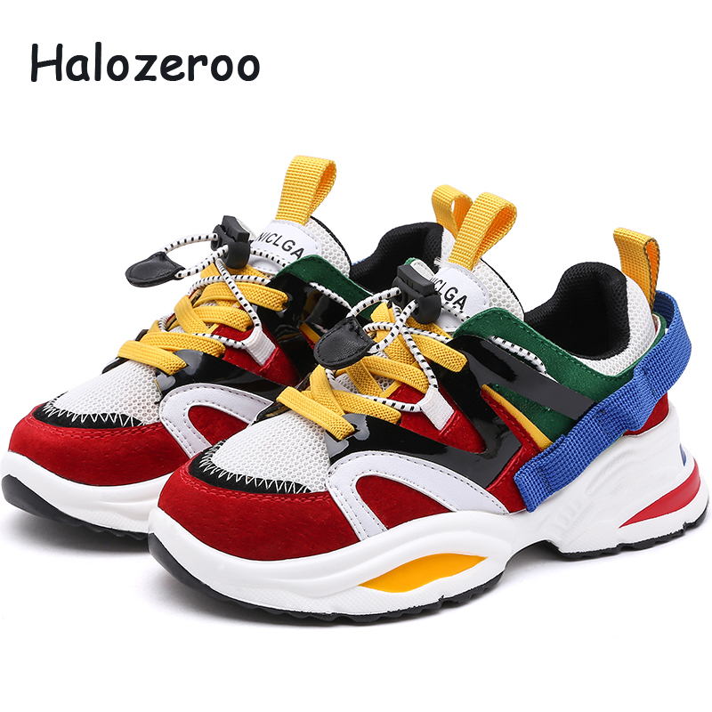 Spring New Fashion Baby Girls Black Genuine Leather Shoes Children Mesh Sport Sneakers Kids Casual Shoes Boys Brand Shoes 2019(China)