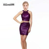 Пикантные Вишневое, коктейльное платье 2019 с бисерными бретельками блестками Двойка Фиолетовый Короткое платье для выпускного вечера Черно