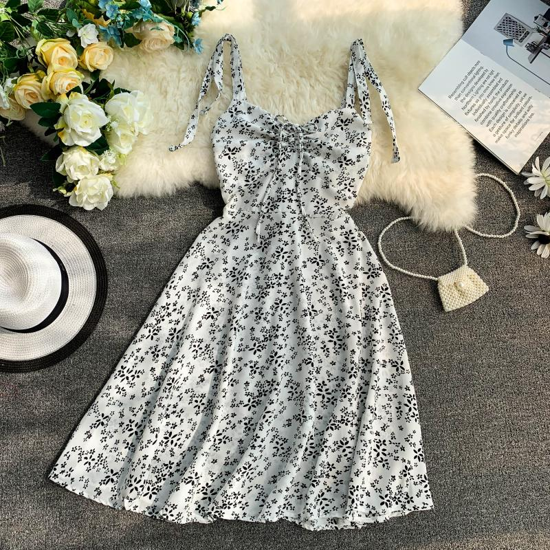 Holiday 2019 New Flower Print V-collar Drawstring High Waist Slim A-line Beach Dress Women Vestidos 4