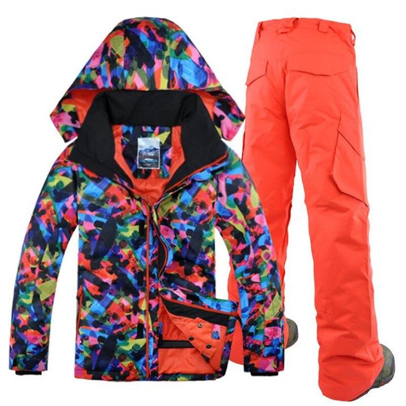 Prix pour 2017 étanche et coupe-vent hommes ski costume + pantalon snowboard veste hommes d'hiver mâle veste de sport costumes de ski gsou snow