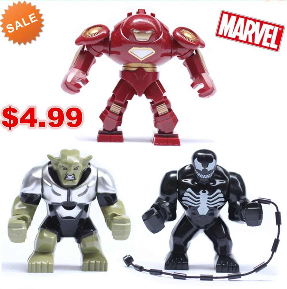 7cm Action Figure Avengers Hulk Buster Iron Man Venom Green Goblin Building Block Figure Toy Compatible With Lego