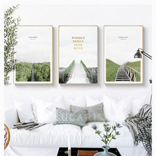 HAOCHU New Hot Nordic Minimalist Wooden Ladder Road Landscape Plant Personality Poster Decorative Painting Wall Picture Canvas