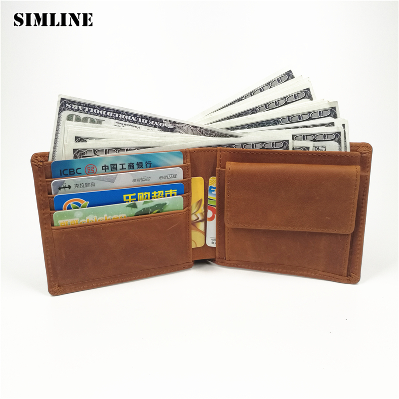 SIMLINE Genuine Leather Men Wallet Men's Vintage Crazy Horse Cowhide Short Wallets Purse With Coin Bag Pocket Card Holder Male