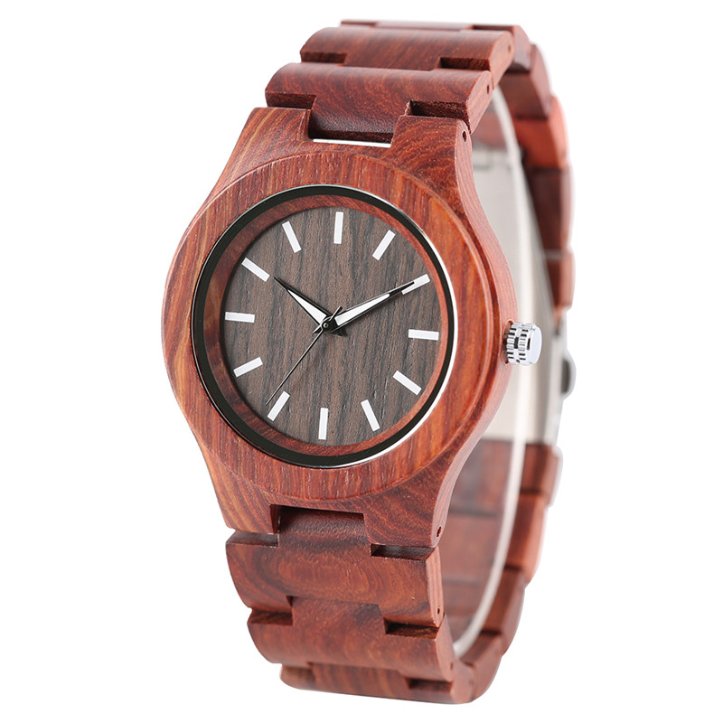 Fashion Cool Wood Quartz Wristwatch for Men Red Real Wooden Bracelet Clasp Simple Design Cost-effective Male Wacth Best Gift simple minimalism casual men quartz wristwatch number dial genuine leather band cost effective natural wooden design male watch