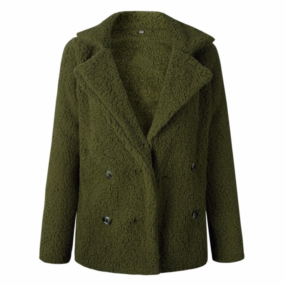 SINFEEL Winter Black Wool Overcoat Warm Outerwear Faux Fur Women Coat Turn Down Collar Long Sleeve Cardigan Female Outwear