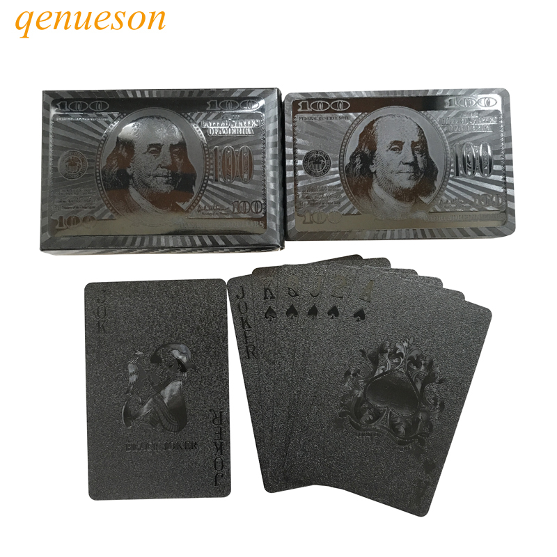 New Hot Smooth Waterproof Black Plastic Playing Cards Black PET Plastic Poker Cards Baccarat 2.28*3.46 inch Board Games qenueson
