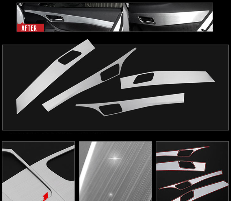 Car Styling 4PCS Stainless Steel Interior Door Decoration Panel Cover Trim For Toyota C-HR CHR 2016 2017 2018