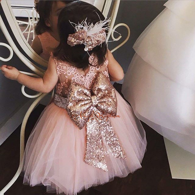 2016 Cute Pink sequined Lace Flower Girl Dress baby first year birthday gown little girls ball gown party dresses with Big bow