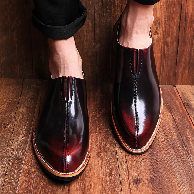 British style Men Flats Genuine leather Dress Business shoes Pointed Toe Slip-On Derby Shoes Casual Male Loafers 1.9