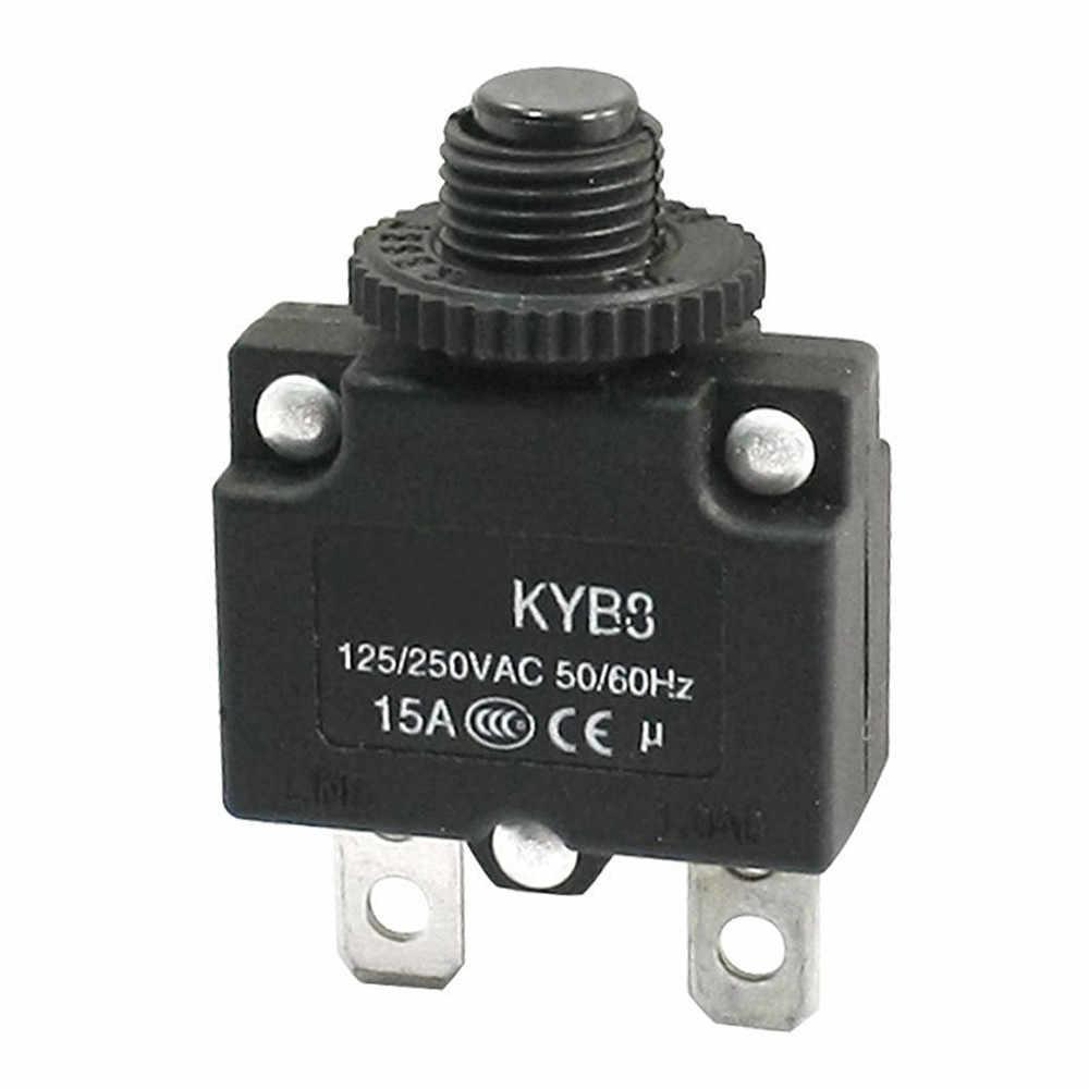 1 pc Novo AC 125 v/250 v 15A Push Botão de Reset Disjuntor de Sobrecarga Protector SA181 P0.11
