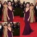 Custom Made Met Gala Selena Gomez Красный Ковер Фиолетовый Ruched Русалка шифон бесплатная доставка Платья Знаменитостей