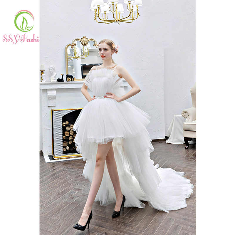 SSYfashion Nobel Strapless Backless Zipper Back Ruffles High Low Sweep Train White Wedding Dress Short Bridal Dresses Lace Dress