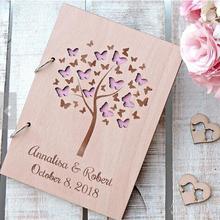 Подгоняемые деревенские бабочки Свадьба Любовь Семья дерево книги для гостей день рождения Крещение гостевые книги приём Детские душевые альбомы