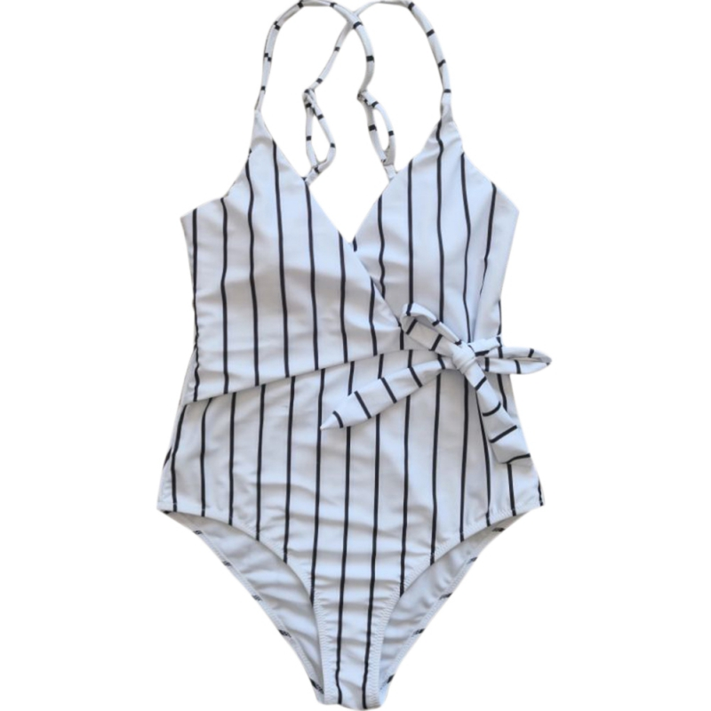 Women Bodysuits Cross Strap Sexy Jumpsuits & Rompers Ladies Summer Striped Beach Suit